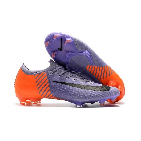 Nouveau Crampons de Football Nike Mercurial Vapor XII Elite FG Violet Orange Noir