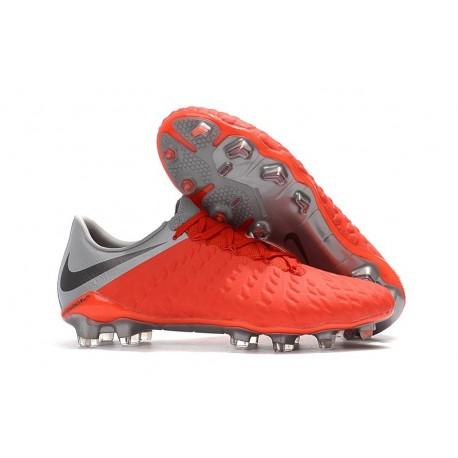 Nouveau Nike Crampons Hypervenom Phantom III FG Gris Rouge