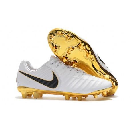 Nouveau Chaussures de Football - Nike Tiempo Legend VII FG Blanc Or Noir