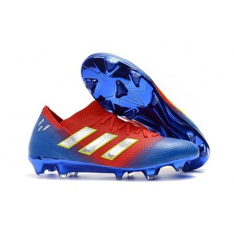 Nouvelles Crampons Foot Adidas Nemeziz Messi 18.1 FG Rouge Bleu Argent