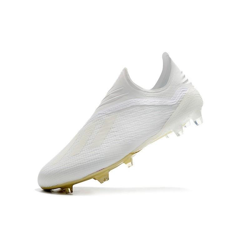 buy online d1b06 b2996 Nouveau Chaussures de Football adidas X 18+ FG Blanc Cassé Blanc Noir Zoom.  Précédent. Suivant
