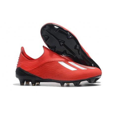 Nouvelles Crampons Foot Pour Hommes - Adidas X 18+ FG Argent Rouge