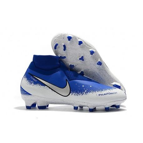 Nouvelles Chaussures de Football Nike Phantom VSN Elite DF FG Bleu Blanc Argent