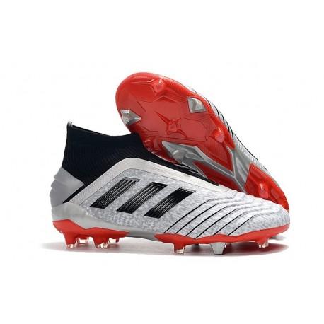 Chaussures de Football adidas Predator 19+ FG Argent Noir Rouge