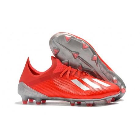adidas X 19.1 FG Chaussure de Foot Neuf Rouge Argent