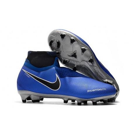 Nouvelles Chaussures de Football Nike Phantom VSN Elite DF FG Bleu Racer Noir Argent Volt