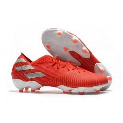 Chaussures de Foot adidas Nemeziz 19.1 FG Rouge Argent