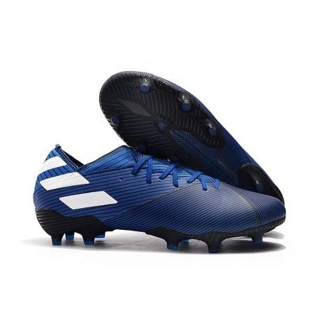 Chaussures de Foot adidas Nemeziz 19.1 FG Bleu Blanc