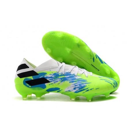 Chaussures de Foot adidas Nemeziz 19.1 FG Blanc Vert Bleu