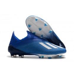 Chaussures adidas X 19+ FG Bleu Blanc