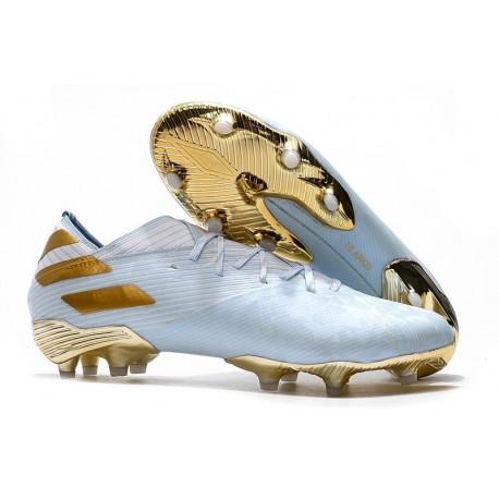 Chaussures de Foot adidas Nemeziz 19.1 FG Bold Aqua/Or/Blanc