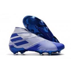 adidas Nemeziz 19+ FG Chaussures Foot - Blanc Bleu