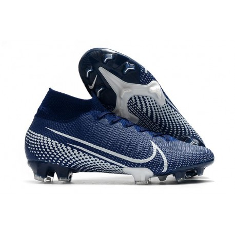 Nike Crampons Football Mercurial Superfly 7 Elite SE FG Bleu Blanc