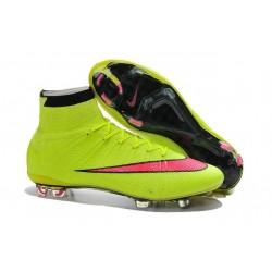 Chaussures Nike Mercurial Superfly FG Hommes - Volt Hyper Rose Noir