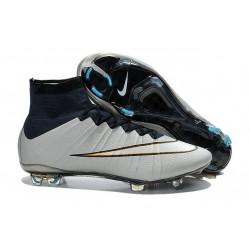 Nouveau Crampons Foot Nike Mercurial Superfly FG - Argent Blanc Hyper Turquoise Noir