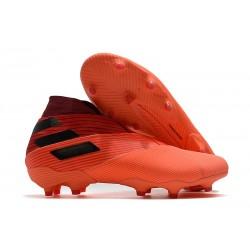 Crampons de Football adidas Nemeziz 19+ FG Corail Noir Rouge Goire