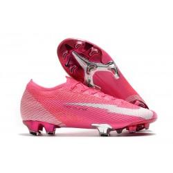Chaussures Nike Mercurial Vapor XIII Elite FG x Mbappe Rose Blanc Noir