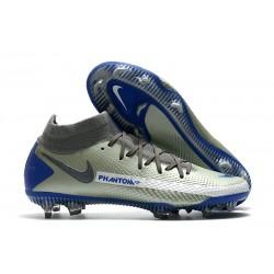 Nike Phantom GT Elite DF DF FG Crampons Argent Bleu