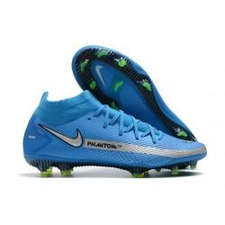 Nike Phantom GT Elite DF DF FG Crampons Bleu Argent