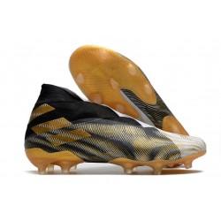 Crampons de Football adidas Nemeziz 19+ FG Blanc Or Metallique Noir