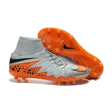 Hommes Chaussures Nike HyperVenom Phantom 2 FG Noir Orange Loup Gris
