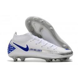 Nike Phantom GT Elite DF DF FG Crampons Blanc Bleu