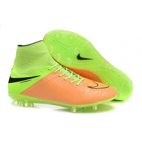 Hommes Chaussures Nike HyperVenom Phantom 2 FG Cuir Beige Noir Volt