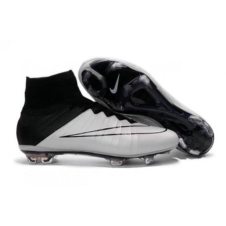 Chaussures Pas Cher Nike Mercurial Superfly FG - Cuir Blanc Noir