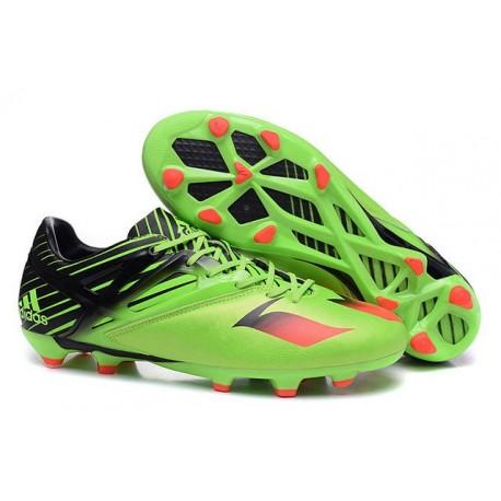 Chaussures foot - Adidas Messi 15.1 FG Vert Noir Rouge
