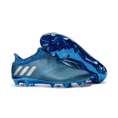 Adidas Messi 16+ Pureagility FG/AG Pas Cher Crampons foot Bleu Argent Noir