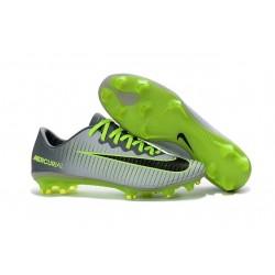 2016 Chaussures Football - Nike Mercurial Vapor XI FG Crampons Platine Noir Vert