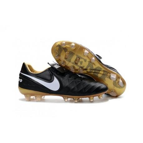 Chaussures de football Nike Tiempo Legend 6 FG Hommes Noir Blanc Or