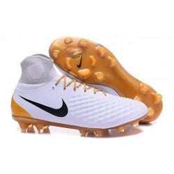 Chaussures de football - Nouveau Nike - Magista Obra II FG Blanc Or