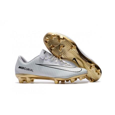 Nouveau Chaussures Football - Nike Mercurial Vapor XI FG Crampons CR7 Vitórias Blanc Or Noir