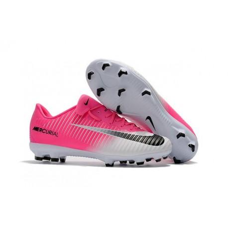 Chaussures de Foot Nike Mercurial - crampon mercurial vapor XI FG ACC Rose Blanc Noir