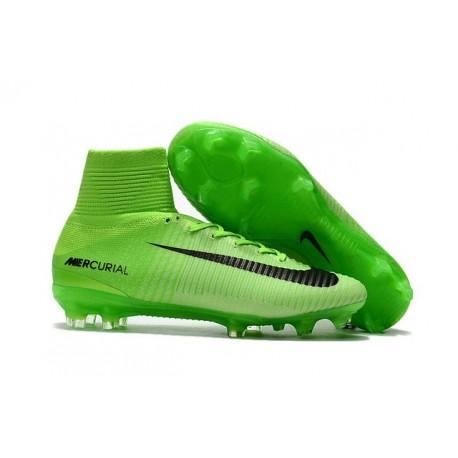 Chaussures de Foot Pas Cher Nike Mercurial Superfly V FG - Vert Électrique Noir Vert Fantôme