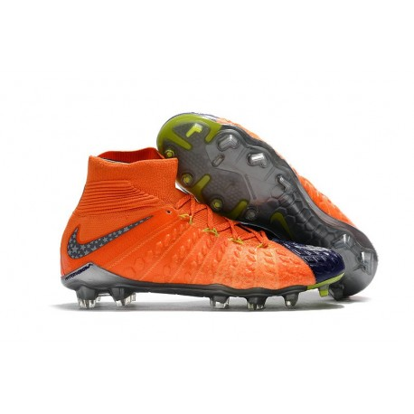 Chaussures de Football 2017 Nike Hypervenom Phantom 3 DF FG Pas Cher - Bleu Royal Chrome Carmin