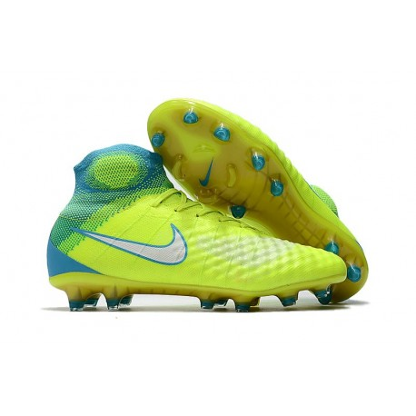 Chaussures Foot Nike Magista Obra II Tech Craft FG - Volt Blanc Bleu Chlore