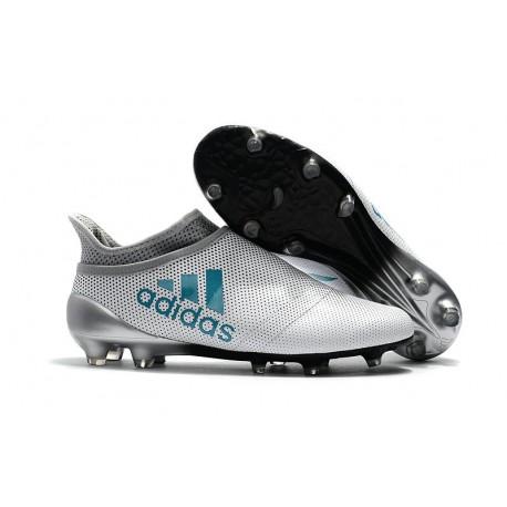 Adidas X 17+ Purespeed FG - Chaussures de Foot pour Hommes Blanc Bleu Gris