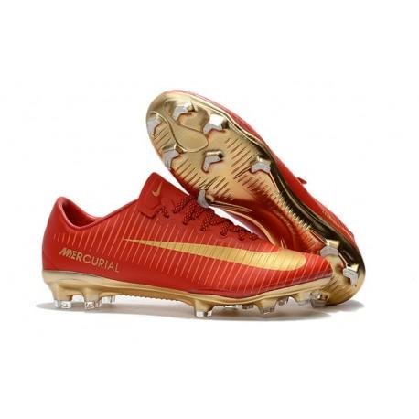 Nouveau Chaussures de Foot Nike Mercurial Vapor 11 FG CR7 Or Rouge