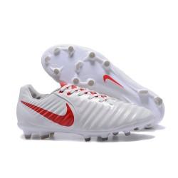 Nike Tiempo Legend VII FG - Chaussures de Football pour Hommes Blanc Rouge