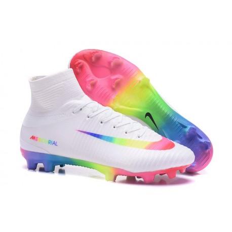 Chaussures de Foot Pas Cher Nike Mercurial Superfly V FG - Blanc Rose Volt Vert Bleu Violet
