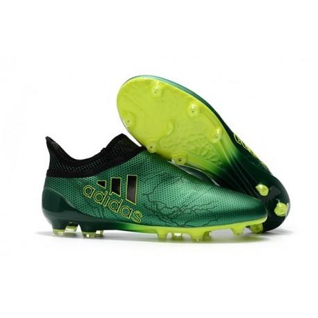 Adidas X 17+ Purespeed FG - Chaussures de Foot pour Hommes Vert Noir Volt