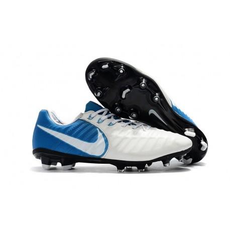 Nike Tiempo Legend VII FG - Chaussures de Football pour Hommes Blanc Bleu