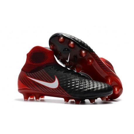 Crampons De Foot Nike Magista Obra 2 FG ACC Noir Blanc Hyper Crimson Clair Crimson