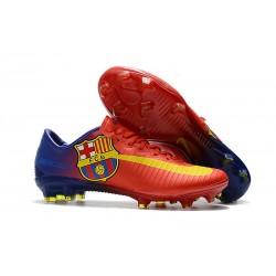 Nouveau Chaussures de Foot Nike Mercurial Vapor 11 FG Barcelona Rouge Bleu Jaune