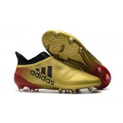 Adidas X 17+ Purespeed FG - Chaussures de Foot pour Hommes Noir Or Rouge
