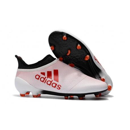 Adidas X 17+ Purespeed FG - Chaussures de Foot pour Hommes Blanc Rouge Noir