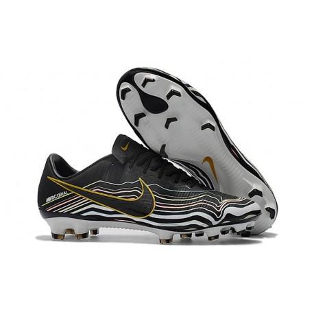 Chaussures de Foot Nike Mercurial Vapor XI FG Noir Blanc Or