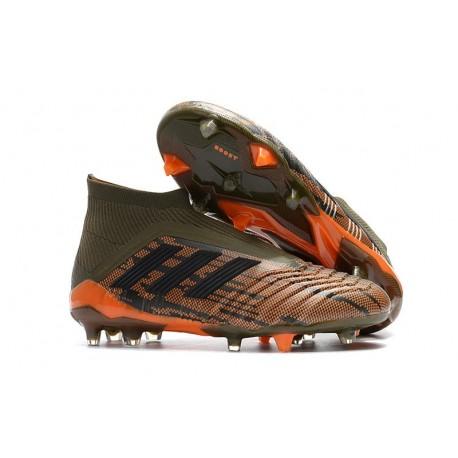 Chaussures de Football 2018 - adidas Predator 18+ FG Olive Noir Orange Vif